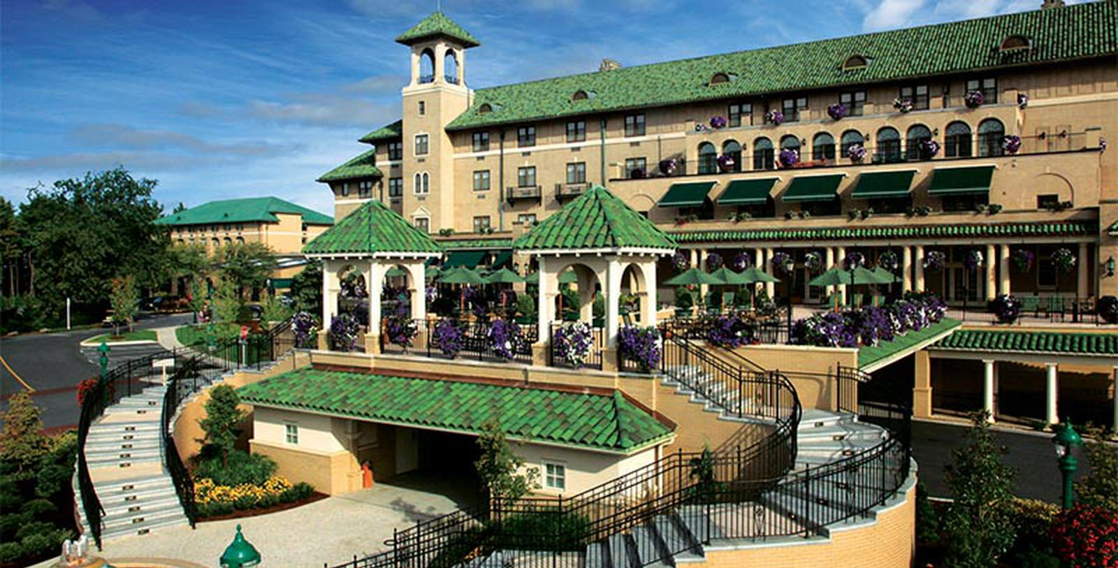 Image of exterior and entrance to The Hotel Hershey in Pennsylvania.